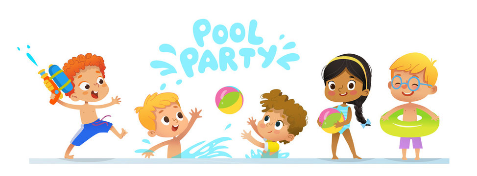 Pool party Invitation template baner. Multiracial Children have fun in pool. Redhead boy with a toy water gun jumping in a pool. Children playing with a ball in the water.