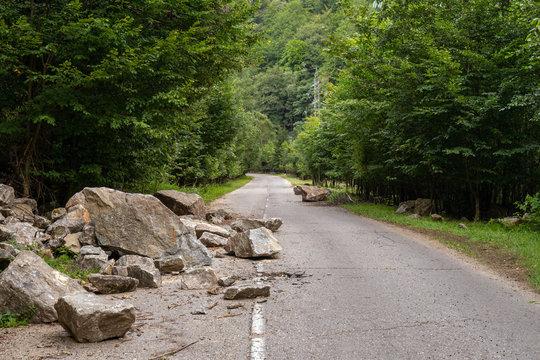 Broken asphalt road
