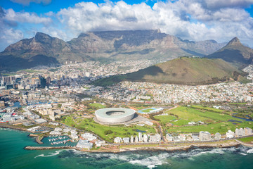 Aerial of the city of Cape Town and Table Mountain, South Africa