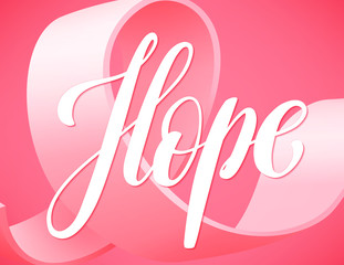Poster for breast cancer awareness month in october with symbol realistic pink ribbon, vector illustration.
