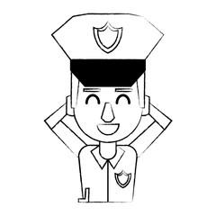 Police profile cartoon sketch
