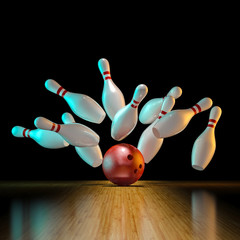 Fototapete -  image of bowling action