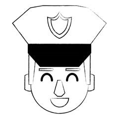 Police face cartoon sketch
