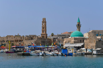 View on the walls and the port of the Old Fortress of Acre from the seaside.