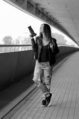 Woman with photocamera, Riga, Latvia