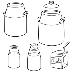 vector set of milk can, bottle and milk box