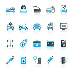 Car part and services icons 1- vector icon set