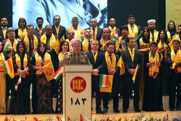Former Iraqi Kurdistan region's President Masoud Barzani speaks to his supporters ahead of regional elections in Erbil