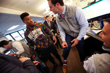 NFL football player Saquon Barkley of the New York Giants visits traders on the floor of Cantor Fitzgerald during their annual September 11 Charity Day to benefit the Cantor Fitzgerald Relief Fund in New York