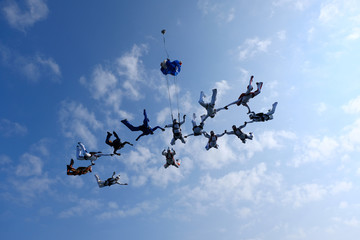 Skydiving. Formation is in the sky.