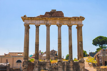 Closeup view on the details of the Forum Romanum in Rome, Italy on a sunny day.