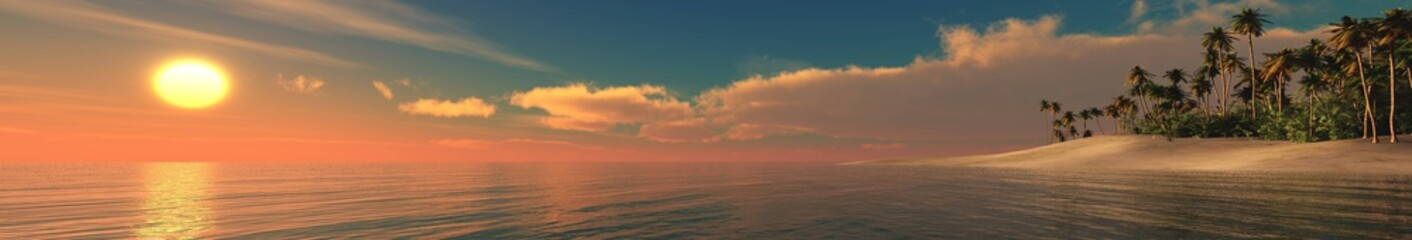Sea sunset. Panorama of the sea landscape. Tropical beach at sunset.