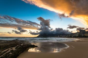 Scenic View of Ipanema Beach in Rio de Janeiro by Sunset