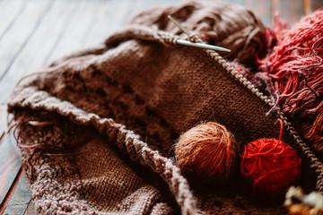 Favorite winter pass time. Knitting a warm sweater.
