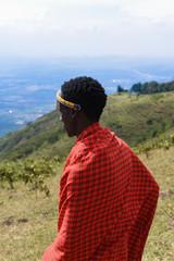 Maasai man overlooking at the valley