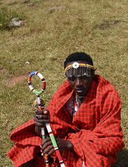 Maasai man holding the maasai stick