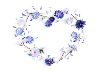 Floral composition. Frame made of fresh flowers on white background. Flat lay, top view, copy space
