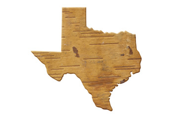 Map to the state of Texas USA in wood