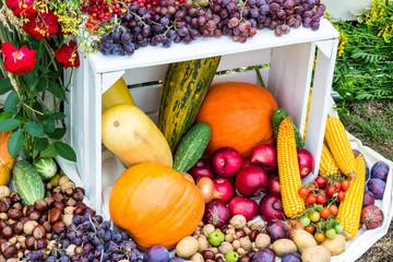 Obraz Kompozycje warzywno owocowe jako tła z płodów rolnych - fototapety do salonu