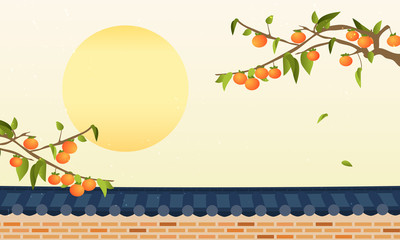 Korean Harvest Mid Autumn Festival(Chuseok) Background vector illustration, Persimmon tree with traditional Korean stone wall fence.  Wall mural