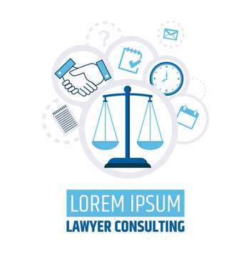 Lawyer consulting. Justice scales. A banner template of a law firm or company. Flyer legal services