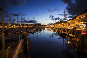 Canvas Prints Port Binic, France, a coastal port town in the coast of Brittany