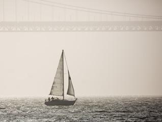 Sailboat and seascape, San Francisco, California in summer 2018