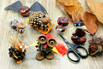 tinker creative chestnut figures in autumn like owl snail squirrel rabbit