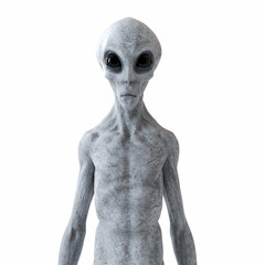 Poster UFO 3d rendered illustration of a humanoid alien