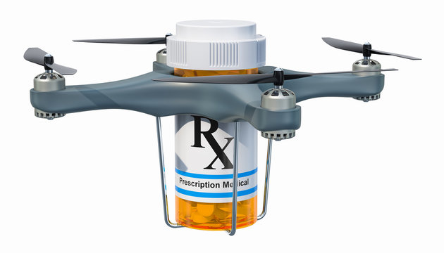 Delivery drone with medicament bottle, 3D rendering