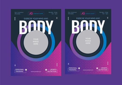 Poster Layout with Purple Gradient Accents