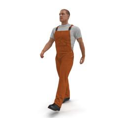 Worker Walking Wearing Orange Overalls On White Background, 3D illustration