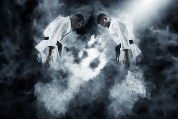 Wall Murals Martial arts Two male karate fighting
