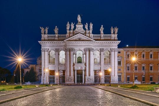 Rome, St. John Lateran basilica (Basilica di San Giovanni in Laterano) at night