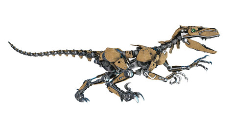 dinosaur robot in a white background
