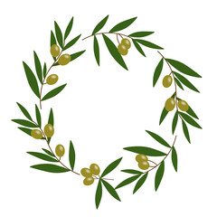 green olive wreath with green leaves illustration vector