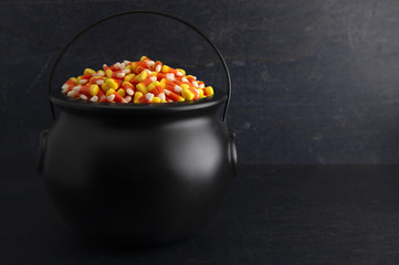 Black Cauldron For Witches FIlled with Candy Corn