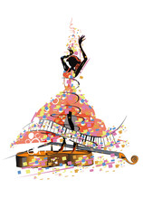 Abstract colorful musical poster with a daancing girl.