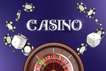 Casino background roulette wheel with dice and chips. Online casino poker table concept design. Top view of white dice and chips on blue background. Casino sign. 3d vector illustration.