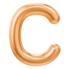 Golden letter C, 3D rendering