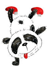 Watercolor with a funny cartoon panda, which is naughty and stands on the paws upside down. Illustration executed in traditional chinese style, isolated on white background.