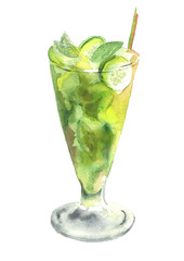 Glass of Mojito. Watercolor hand drawn illustration