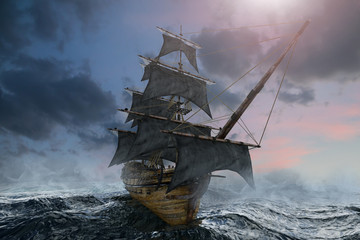 pirate ship sailing on the sea, 3D render