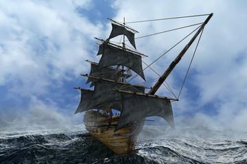 Deurstickers Schip pirate ship sailing on the sea, 3D render