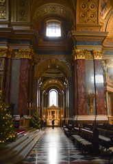 Interior of St. Stephen's Basilica (Szent Istvan Bazilika) in Budapest on December 29, 2017.