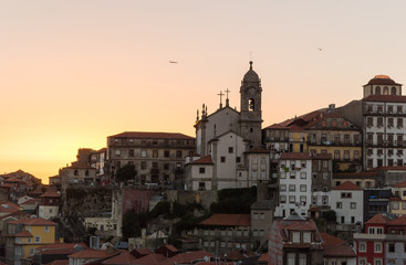 silhouette of old Oporto city at sunset light a day of summer in Portugal