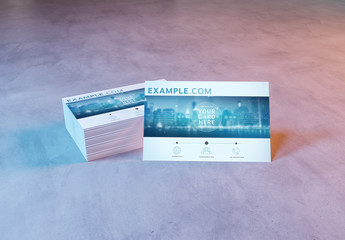 Stack of Business Cards on Concrete Mockup