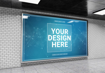 Horizontal Billboard in Tunnel Mockup