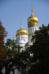 Architecture of Moscow Kremlin. Color photo.