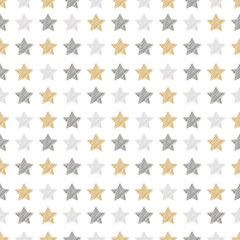 christmas stars seamless pattern scribble drawing white isolated background